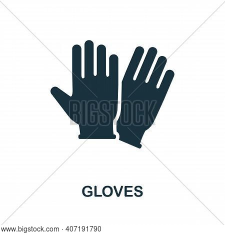 Gloves Icon. Simple Element From Medical Services Collection. Filled Monochrome Gloves Icon For Temp