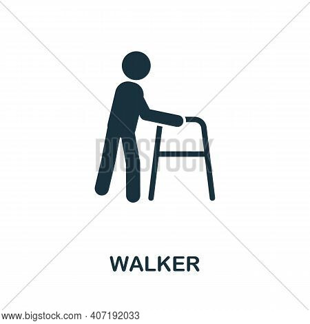 Walker Icon. Simple Element From Medical Services Collection. Filled Monochrome Walker Icon For Temp