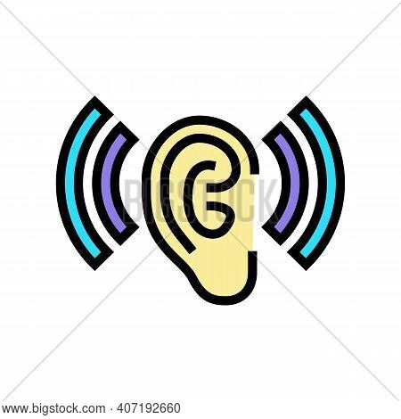 Listening And Hearing Noise Color Icon Vector. Listening And Hearing Noise Sign. Isolated Symbol Ill