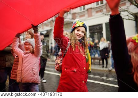 Vilnius, Lithuania - March 11, 2020: People Taking Part In A Festive Events As Lithuania Marked The