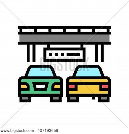 Bridge Traffic Jam Color Icon Vector. Bridge Traffic Jam Sign. Isolated Symbol Illustration