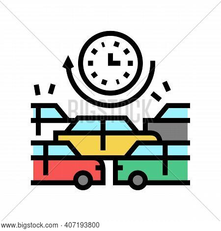 Waiting Time In Traffic Jam Color Icon Vector. Waiting Time In Traffic Jam Sign. Isolated Symbol Ill