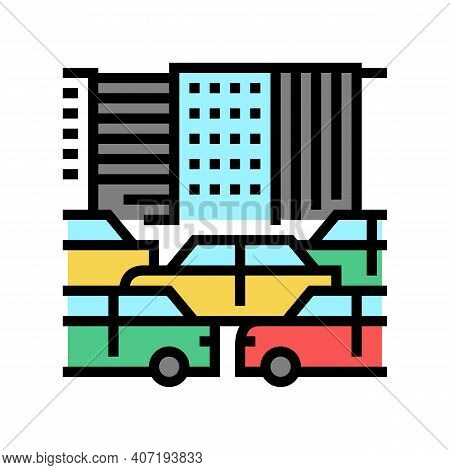 City Traffic Jam Color Icon Vector. City Traffic Jam Sign. Isolated Symbol Illustration