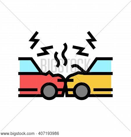 Cars Accident Color Icon Vector. Cars Accident Sign. Isolated Symbol Illustration