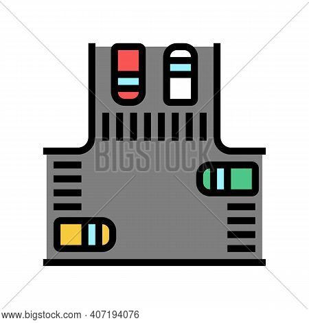 Crossroads With Cars Color Icon Vector. Crossroads With Cars Sign. Isolated Symbol Illustration