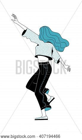 Happy Young Woman Dancing On White Background Vector Illustration. Positive Thinking And Enjoying Li
