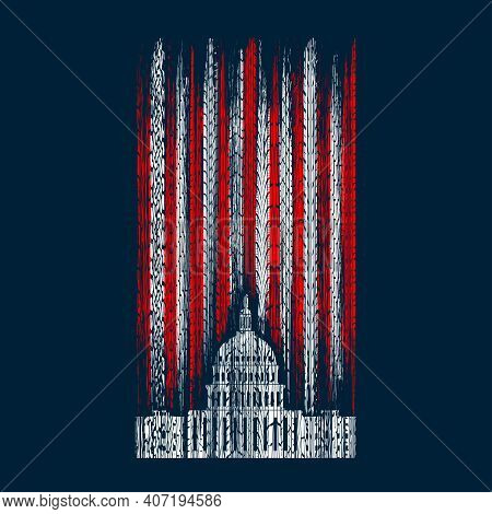 Abstract Usa Capitol Silhouette With Red And White Vertical Grunge Lines Isolated On Dark Background