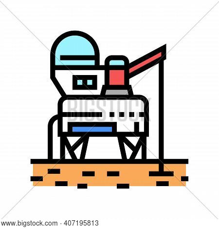 Space Base Construction Color Icon Vector. Space Base Construction Sign. Isolated Symbol Illustratio