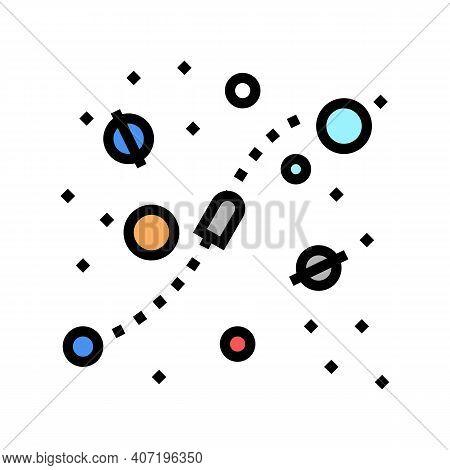 Cosmic Way Between Planets Color Icon Vector. Cosmic Way Between Planets Sign. Isolated Symbol Illus