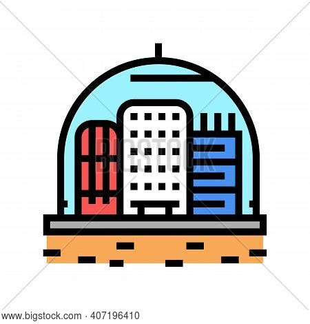 Cosmic City Under Dome Color Icon Vector. Cosmic City Under Dome Sign. Isolated Symbol Illustration
