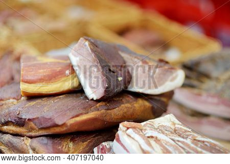 Selection Of Assorted Home Made Meats, Jerky And Sausages On A Farmer's Market In Vilnius, Lithuania
