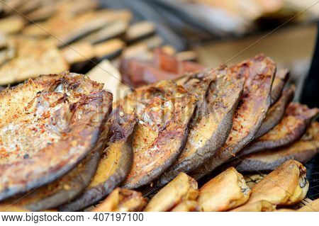 Selection Of Assorted Home Made Smoked Fish On A Farmer's Market In Vilnius, Lithuania.