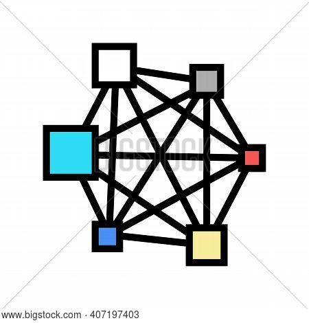 Neural Network Color Icon Vector. Neural Network Sign. Isolated Symbol Illustration