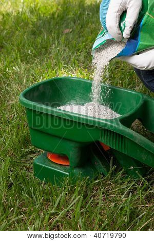 Preparing to fertilize lawn in back yard in spring time poster