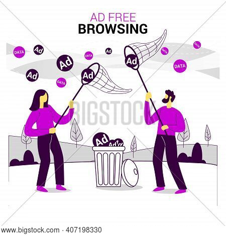 Advertising Free Browsing Flat Illustration Concept Vector