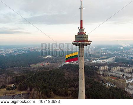 Vilnius, Lithuania - February 16, 2020: Giant Tricolor Lithuanian Flag Waving On Vilnius Tv Tower On