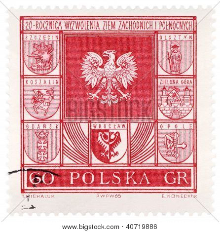 Arms Of Polish Cities On Post Stamp