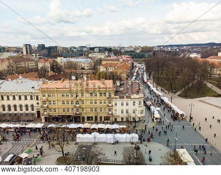 Vilnius, Lithuania - March 7, 2020: Aerial View Of Crowds Attending Kaziuko Muge Or Kaziukas, Tradit