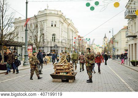 Vvilnius, Lithuania - February 16, 2020: Hundreds Of People Attending The Celebration Of Restoration