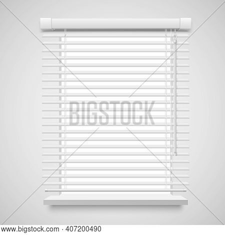 Realistic Jalousies For Window Vector Illustration Isolated On White