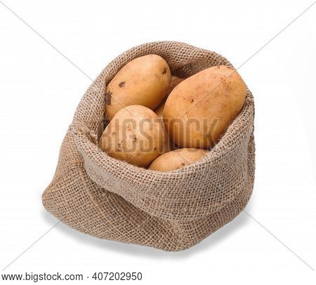 Jute Sack With Potatoes Isolated On White Background