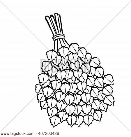 Broom Sketch For Ani, Coloring Book, Birch Broom, Isolated Object On A White Background Vector Illus
