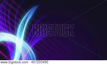 Abstract Background With Neon Lines.light Neon Waves. Background From Stripes.3d Rendering,illustrat