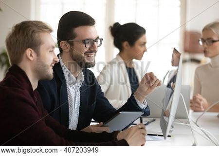 Happy Male Business Leaders Having Video Call Or Interview
