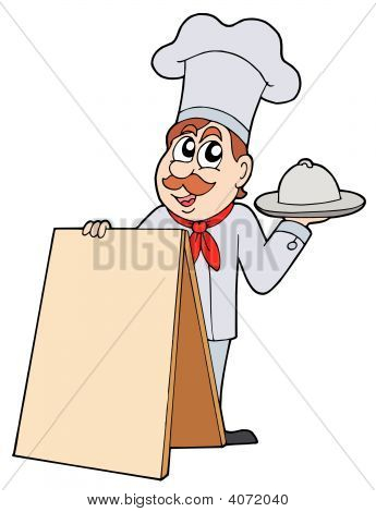 Chef with blank menu table - vector illustration. poster