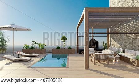 3d Rendering Of Luxurious Sundeck With Swimming Pool And Clear View. Deck Chairs With Umbrella And F