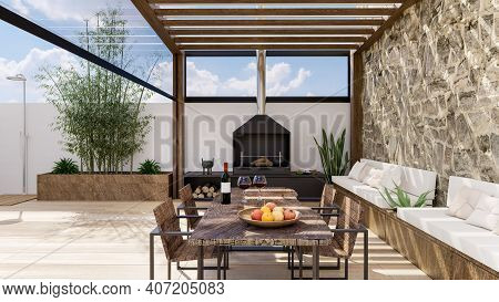 3d Render Of Luxurious Outdoor Urban Terrace With Teak Wood Pergola And Barbecue. Wooden Table With