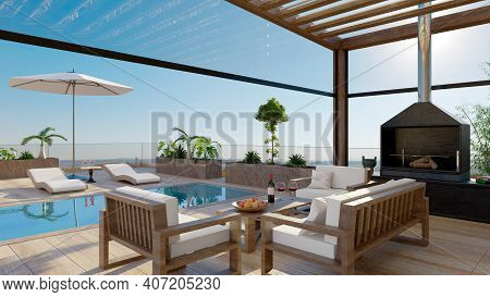 3d Illustration Of Luxury Outdoor Terrace With Swimming Pool And Barbecue. Bioclimatic Pergola With