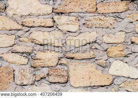 Stone Wall Masonry Rakushnyaka Sealed With Cement Mortar, Wall Texture, The Background