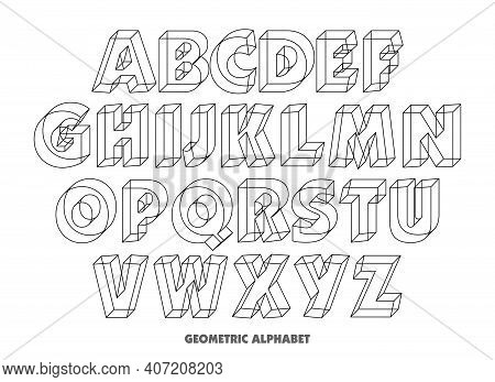 Vector Of Geometric Alphabet Letters. 3d Isometric Alphabet Font . Alphabet Set