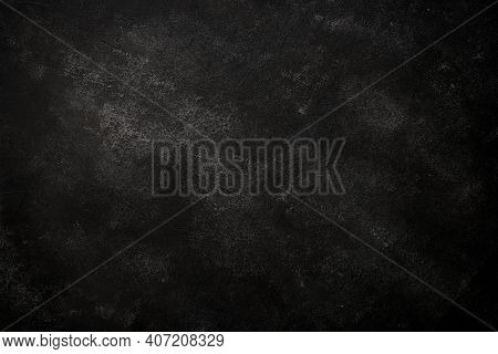 Black Background. Black Stone Or Concrete Background. Free Space For Your Design.