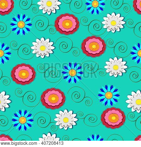 Seamless Vector Illustration Pattern, Flowers, Paper Cutout Effect, Summer Banner, Spring Postcard,