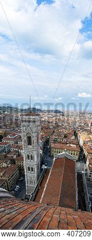 Florence Campanile Top View With Text Space