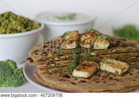 Broccoli Paneer Paratha. Made With Whole Wheat Flour, With A Filling Of Broccoli And Paneer.