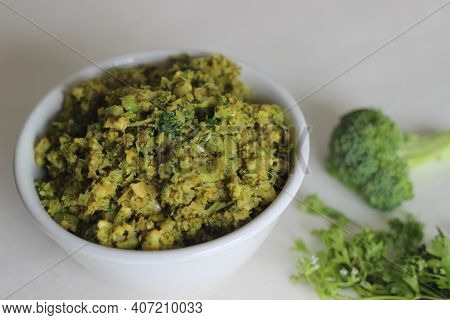Broccoli Paneer Stuffing For Paratha. Ready To Add To The Whole Wheat Flour For Preparing Broccoli P