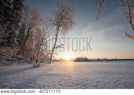Winter Landscape With Forest And Blue Sky With The Setting Sun. Pink-purple Tones. Frozen River In A