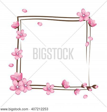 Cherry Blossom Wreath. Pink Cute Sakura Flowers Frame. Spring Pink Blooming Composition With Buds. F