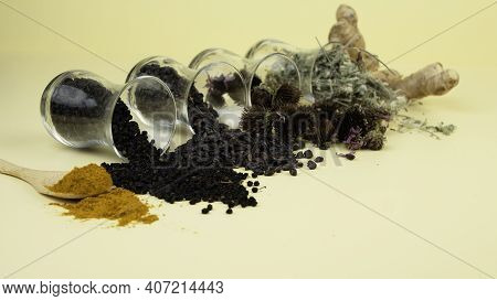Immunity Booster Concept. Dried Berries And Herbs For Enhanced Health. Turmeric, Elderberry, Barberr
