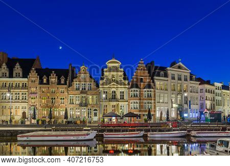 Gent, Belgium - April 29, 2017: Sunset in old town Gent.
