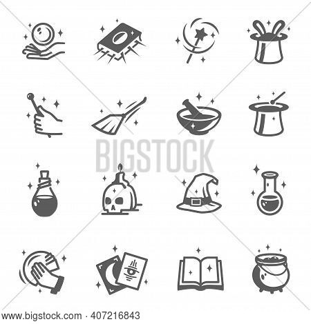 Wizard, Magician, Sorcerer, Witch Accessories Bold And Line Black Silhouette Icons Set.