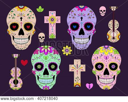 Vector Dia De Los Muertos, Day Of The Dead Or Mexico Halloween Sculls Collection. Marigold Flowers A