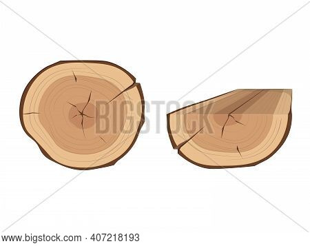 Tree Stump And Timber Illustration. Set Of Wood Logs For Forestry And Lumber Industry.