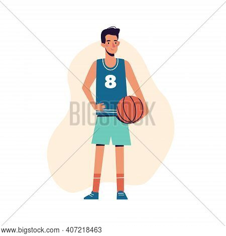 The Man Plays Basketball. Basketball Player Athlete, Vector Illustration Isolated On White Backgroun