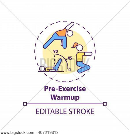Pre-exercise Warmup Concept Icon. Home Physical Training Tip Idea Thin Line Illustration. Increasing