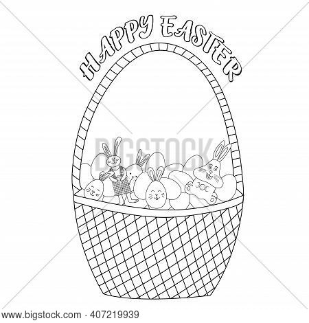 Basket With Easter Eggs And Chocolate Easter Bunny Coloring Page. Happy Easter. Vector Cartoon Illus