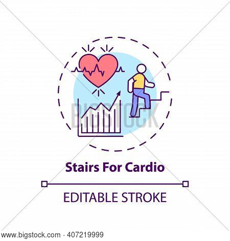 Stairs For Cardio Concept Icon. Gym Exercise Alternative Idea Thin Line Illustration. Stair Climbing